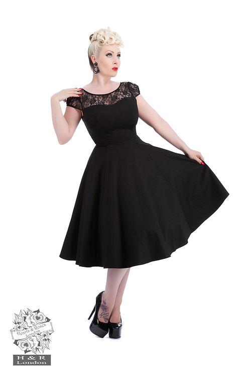 Black Mesh Lace Swing Dress