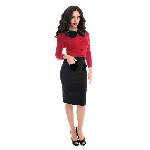 Collectif Mainline Violetta Velvet Heart Pencil Skirt
