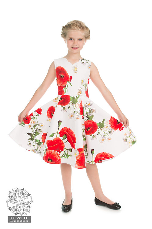 Childrens Opium Poppy Floral Kids Dress