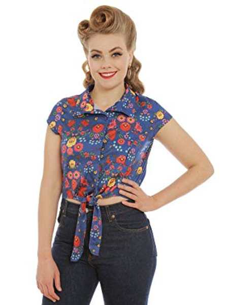 'Rania' Blue Quaint Floral Print Tie Front Blouse