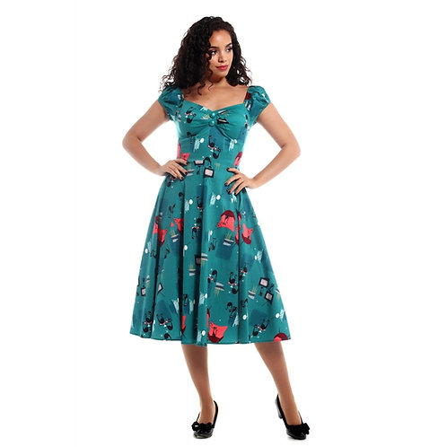Collectif Mainline Dolores Atomic Cats Doll Dress