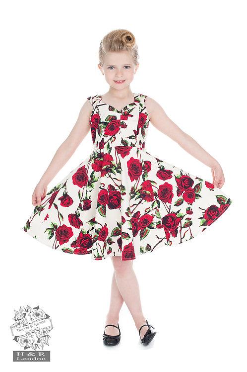 Childrens 50s Ditsy Rose Floral Summer Dress