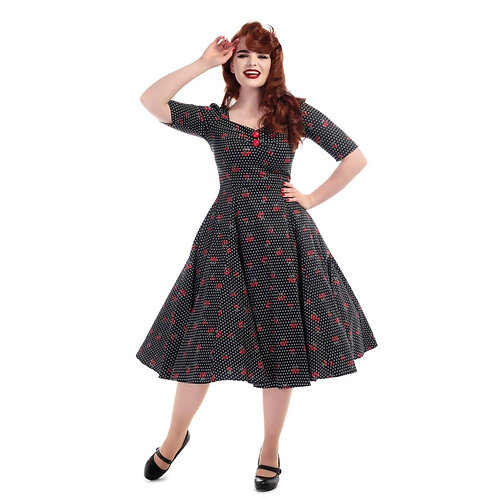 Collectif Mainline Dolores H/s Cherry Polka Dot Doll Dress