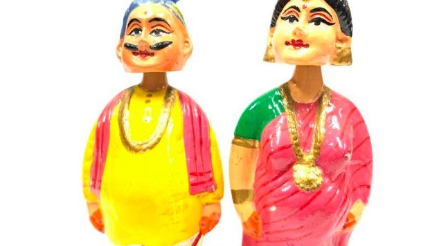 Wooden Marathi couple