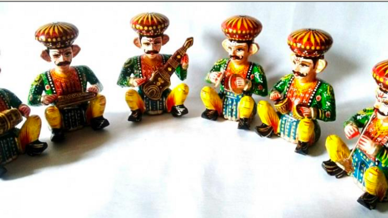 Wooden Rajasthani Music set
