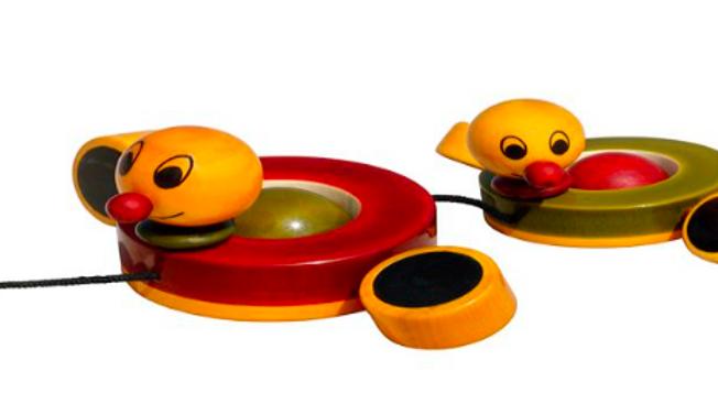 Wooden ducks with wheels