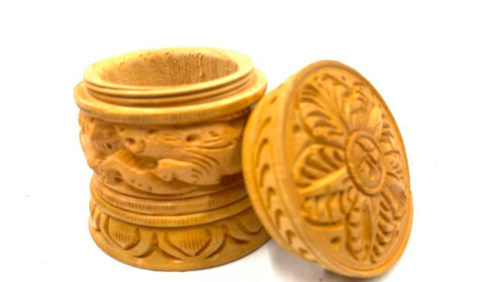 Carved Kumkum box