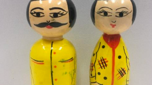 Wooden Japanese Couple