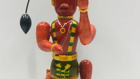 Wooden Hanuman in action (Large)