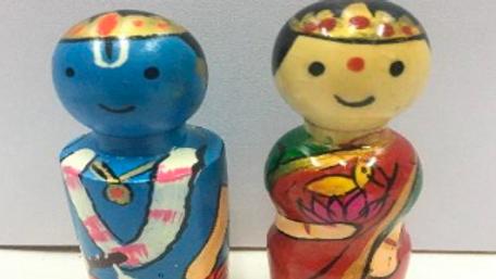 Wooden Krishna Couple