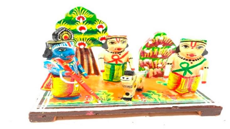 Wooden Krishna with friends