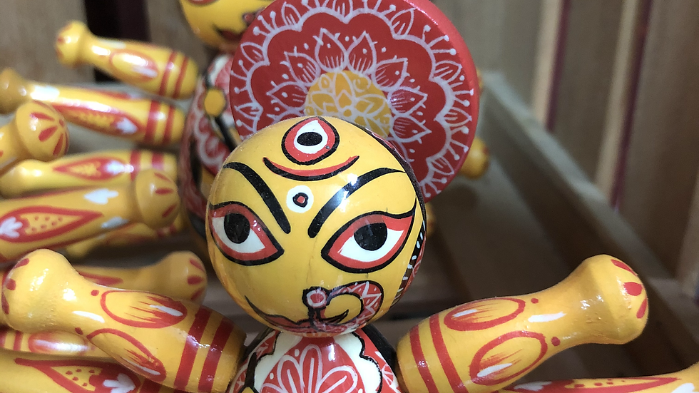 Wooden Durga with intricate designs