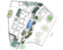 Фото генерального плана ландшафтного проекта в Киеве. На участке рядом с домом на плане можно увидеть расположение построек,водоем и проект сада