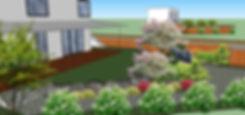 Фото ландшафтного дизайн проекта в Киеве. Данная визуализация с ипользование 3-D проектирования позволяет клиенту получить полную картинку готового сада и заглянуть в будущее.