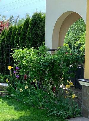 Изящная арка с высаженными перед ней растениями