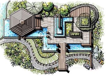 Ландшафтный проект выпоненный вручную. Нафото виден настил, зона отдыха, садовая дорожка, водоем интересной формы и сам