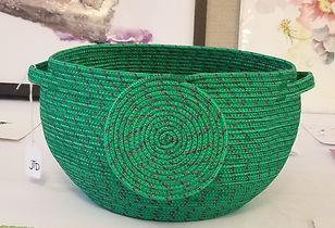Fabric coiled basket by Jennifer Dinwidd
