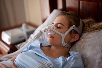 Cpap machine, Woman using sleeping sleep