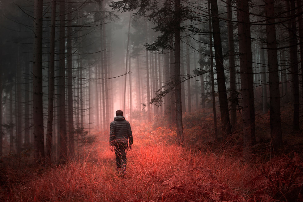 Man walking alone in magical dark orange
