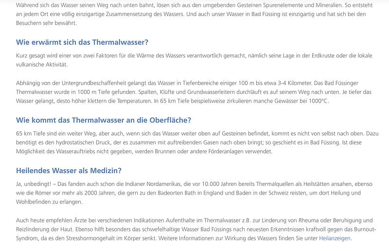 Heilwasseranalyse Bad Füssing