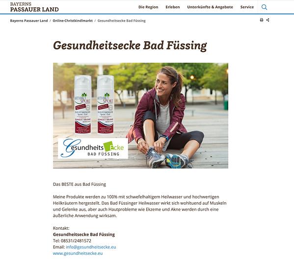 Bayerns Passauer Land Online-Christkindlmarkt Gesundheitsecke Bad Füssing