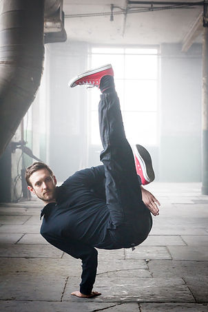 Image of a Street Dancer in Atlas Studios. Taken by RBF Photography