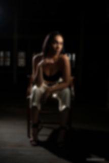 Model Nadie Smith sat on a chair in Atlas Studios