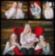 Family portrait images by Cathy Brown in front of the pallet wall in the main room in Atlas Studios
