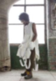 Model Aloe Verawang stood in the stone room in Atlas Studios.