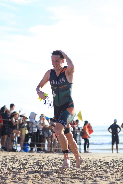 Jason Fonger vegan champion triathlete swim exit Ironman 70.3 Vietnam 2019