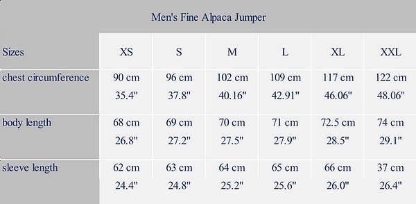 Men´s measure alpaca garment