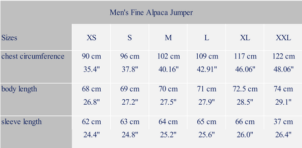 Men´s measure alpaca garment