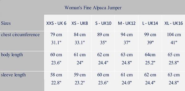 woman's measure alpaca garment