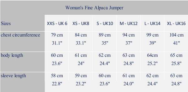 woman's measure alpaca garment