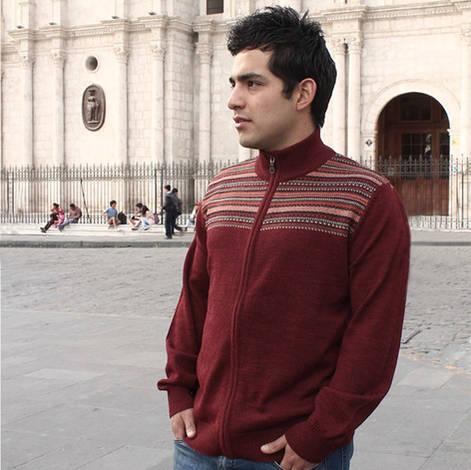 Men cardigan zip jacquard design to front chest. ribbed neck collar.