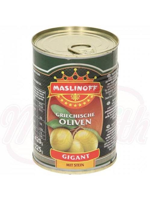 Греческие зеленые оливки с косточкой 420g