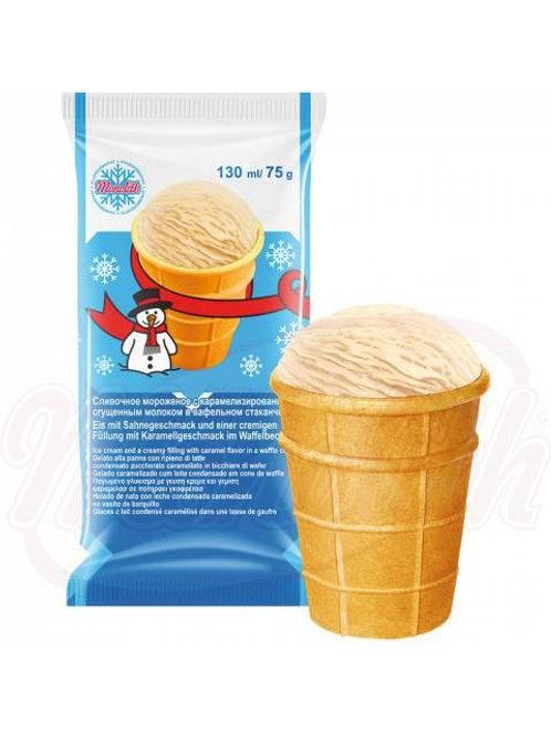 Мороженое с варёной сгущёнкой в вафельном стаканчике 130g