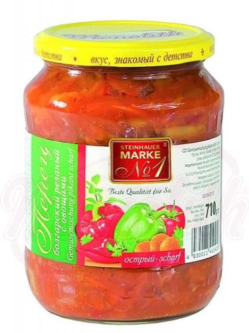 Болгарский перец резанный с овощами, острый710g