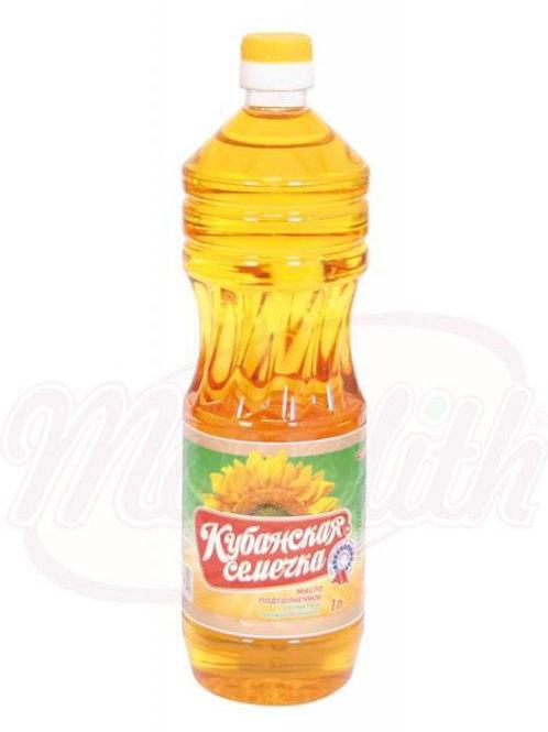 """Масло подсолнечное, ароматное, нерафинированное """"Кубанская семечка"""" 1l"""
