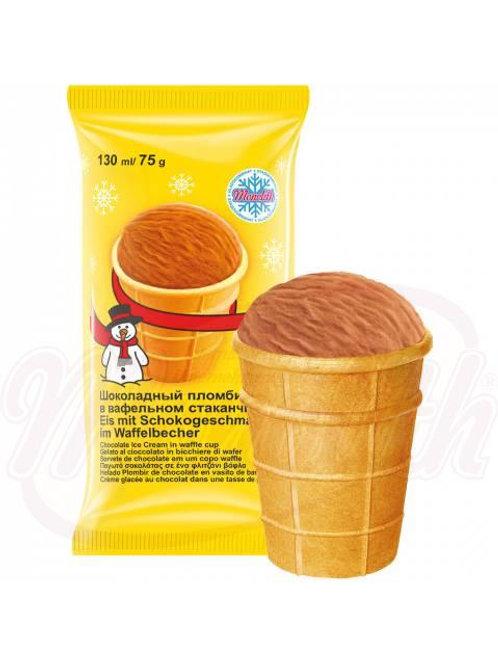 ***Шоколадный пломбир в вафельном стаканчике 130ml