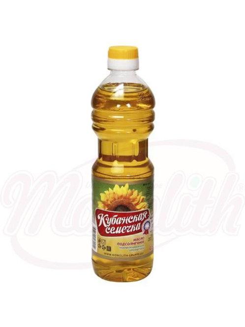 """Масло подсолнечное, ароматное, нерафинированное """"Кубанская семечка"""" 0.5l"""