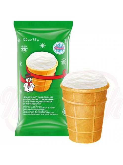 Сливочное мороженое в вафельном стаканчике 130ml