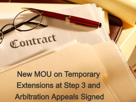 New MOU on Temporary Extensions at Step 3 and Arbitration Appeals Signed