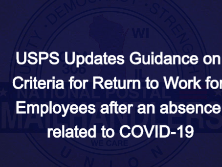 USPS Updates Guidance on Criteria for Return to Work for Employees after an absence related to COVID