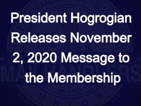 President Hogrogian Releases November 2, 2020 Message to the Membership