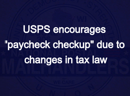 """USPS encourages """"paycheck checkup"""" due to changes in tax law"""