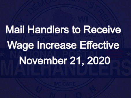 Mail Handlers to Receive Wage Increase Effective November 21, 2020