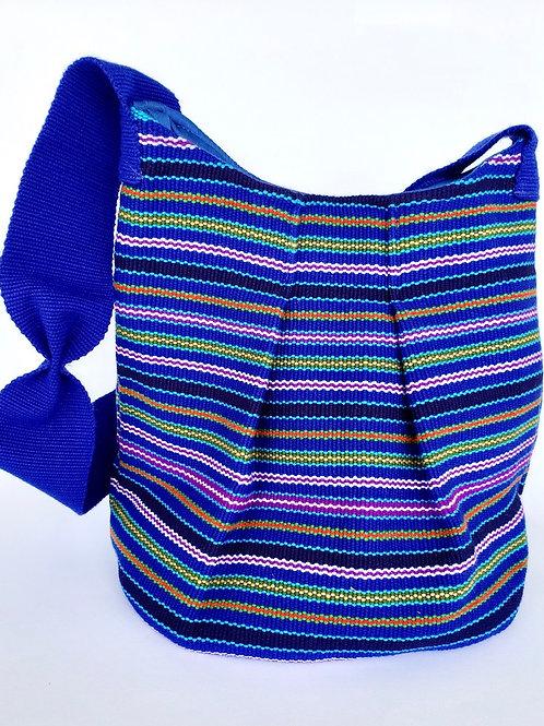 k'uk (Resplendent Quetzal) Bucket Bag (royal blue, lavender, yellow, green, tan)