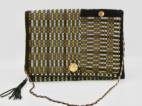 pepem clutch (gold, rust, light brown, black, white)with shoulder strap
