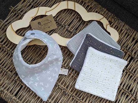 "Bandana ""Butterfly""- gris perle blanc"